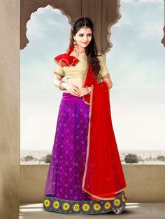 Purple Net Lehenga Choli with Lace Work