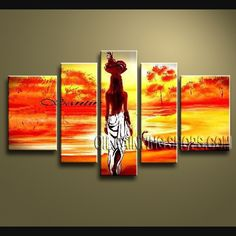 Large Modern Abstract Painting Hand Painted Oil Painting Gallery Stretched Figure. This 5 panels canvas wall art is hand painted by V.Chua, instock - $158. To see more, visit OilPaintingShops.com