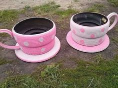 What a great idea for fun obstacles! Old tires rule!