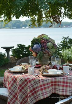 A Fruit and Vegetable Centerpiece and Mikasa English Countryside Dinnerware   homeiswheretheboatis.net #tablescape