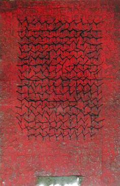 D-10.Nov.200230x42cmpaper making, painting, collage(knitted the paper, tied the paper strings)  林孝彦 HAYASHI Takahiko 2002