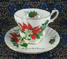 Vintage Poinsettia Noel Cup And Saucer Queen Anne by AntiquesAndTeacups, $48.00