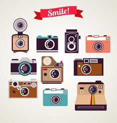 Stock vector of Old Vintage Camera Set. Vector Art by ma_rish from the collection iStock. Get affordable Vector Art at Thinkstock UK. Camera Logo, Camera Art, Polaroid Camera, Camera Drawing, Camera Icon, Digital Camera, Vintage Polaroid Kamera, Vintage Cameras, Photography Camera