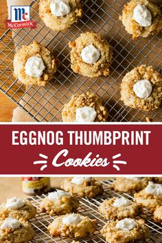 These thumbprint cookies with a creamy eggnog-flavored filling will get you into the holiday spirit. Eggnog Cookies, Galletas Cookies, Yummy Cookies, Cookies Et Biscuits, Holiday Cookies, Shortbread Cookies, Holiday Desserts, Holiday Baking, Holiday Recipes