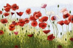 easy oil paintings poppies | 2011 - 2011 Mountain Poppies III Painting