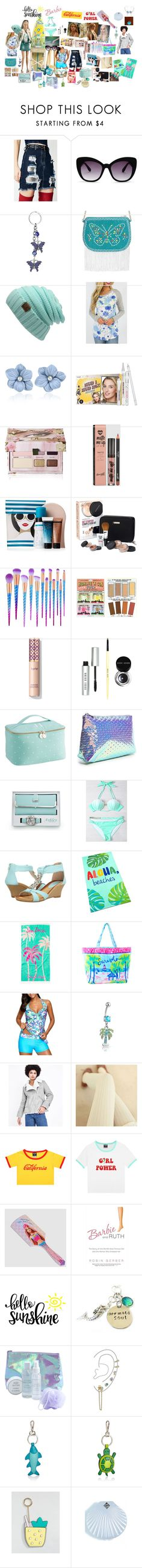"""Hello Sunshine Barbie Cali Girl Power"" by aquamimi on Polyvore featuring Hera Knit, H2O+, Perverse, WithChic, Benefit, Too Faced Cosmetics, St. Tropez, Bare Escentuals, TheBalm and Bobbi Brown Cosmetics"