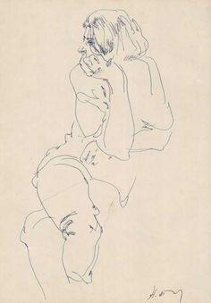contour line drawing by Nikolai Blokhin, Contemporary artist, marker or pen Contour Line Drawing, Gesture Drawing, Contour Drawings, 3d Drawings, Drawing Sketches, Drawing Faces, Drawing Tips, Figure Sketching, Figure Drawing