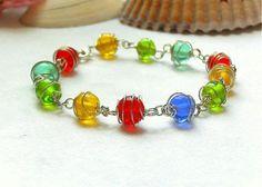 Caged Bead Bracelet, Rainbow Glass Bead Bracelet