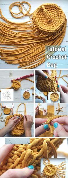 Crochet Handbag Tutorial http://www.handmadiya.com/2017/09/crochet-handbag-tutorial.html