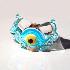 Ruffle Ribbon Eye Heart Sea and Earth handmade lampwork by Genea