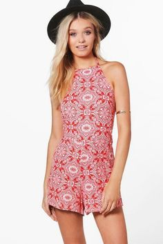 98a7b5438e Boohoo Print Paisley High Neck Playsuit Red Size UK 12 rrp 18 DH088 ii 15