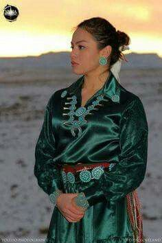 A Young Navajo Woman, traditional clothing. → Please follow me at: https://www.pinterest.com/imjollyollie/