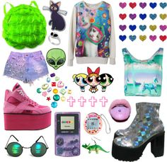 """90s inspired"" by twisted-candy ❤ liked on Polyvore"