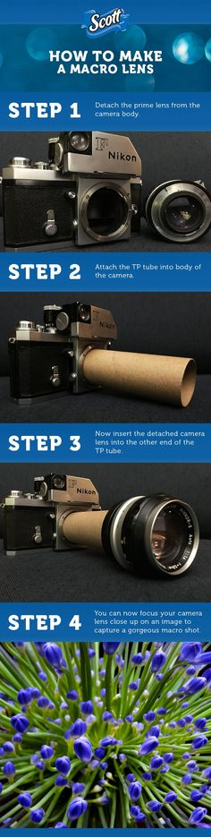 Your photos will be worth much more than 1,000 words after you use this craft on your camera. All you need is a toilet paper tube to make your very own macro lens, which will allow you to zoom in close on objects and take very detailed photos.
