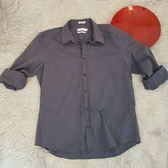 Calvin Klein Mens Shirt Size XL Gray Striped Long Sleeve Button Front Non Iron #CalvinKlein #ButtonFront