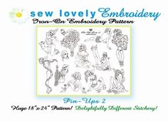 Pin-ups 2 Iron on Hand Embroidery Pattern (original design). $8.00, via Etsy.