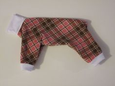 Dog Pajamas  XS  Fleece Rose and brown plaid by by afrodytka1224, $13.00