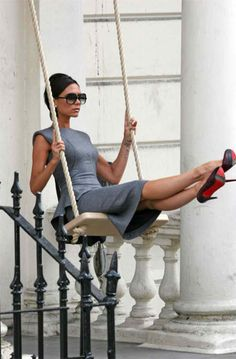 Victoria Beckham...the only person who doesn't smile, even when full-on swinging! Still like her, though :)