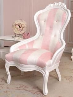 Pink Striped Victorian Chair.  My mother had this chair and it's male partner but hers were covered in Turquoise Silk with little flowers embroidered on it...