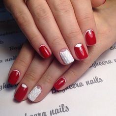 Half moon nails, mix match nails, New Year nails 2018, New year nails ideas 2018, New years nails, Party nails, Red and white nails, Reverse French manicure