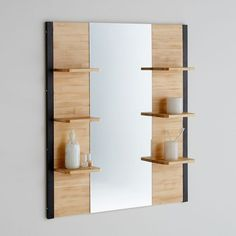 Hiba Solid Pine and Metal Bathroom Mirror La Redoute Interieurs Hiba solid pine and metal bathroom mirror. With a contemporary industrial look this bathroom mirror is a very practical choice with 6 mini shelves for. Bathroom Mirror Cabinet, Mirror Cabinets, Storage Mirror, Bathroom Storage, Bathroom Design Small, Modern Bathroom, Home Decor Furniture, Bathroom Furniture, Mirror Decor Living Room