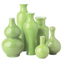 """Au Courant Vases (Set of 6) Color: Acid Green by Tozai. $225.09. UNIAG-S6 Color: Acid Green Features: -Material: Porcelain.-Hand-painted. Includes: -Includes assortment of traditional shapes in various sizes. Dimensions: -Dimensions: 5"""" H x 3.75"""" W.-Dimensions: 7.25"""" H x 4"""" W.-Dimensions: 8.75"""" H x 4"""" W.-Dimensions: 9.25"""" H x 5.5"""" W.-Dimensions: 10.75"""" H x 3.5"""" W.-Dimensions: 12"""" H x 3.75"""" W. Collection: -Au Courant collection."""