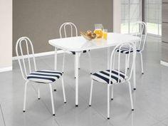 Conjunto de Mesa com 4 Cadeiras Estofadas - Formóveis                                                                                                                                                                                 Mais