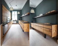 groen in je interieur---donkergroene-muur-keuken-met-houten-kastjes-en-vloer