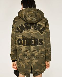 ZARA - WOMAN - CAMOUFLAGE PARKA do not like the writing on the back
