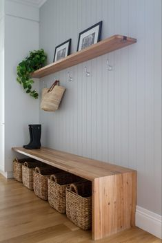 Timber Walls, Timber Shelves, Timber Panelling, Wall Panelling, Decoration Bedroom, Hallway Storage, Residential Interior Design, Mudroom, Home And Family