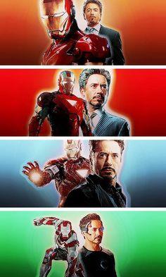 I am Iron Man (top to bottom: IM, IM2, Avengers, IM3).