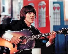 is a 1965 musical comedy-adventure film directed by Richard Lester, starring the Beatles–John Lennon, Paul McCartney, George Harrison. Beatles Guitar, Les Beatles, John Lennon Beatles, Great Bands, Cool Bands, Richard Lester, Gibson Acoustic, Gibson Guitars, Acoustic Guitar