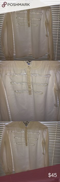 100 percent cotton Peter Pan collar blouse Beautiful embroidered lace, long sleeved 100% cotton Built by Wendy, blouse. Built by Wendy Tops Button Down Shirts
