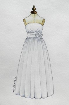 Custom Watercolor Painting of Wedding Dresses by eplambert on Etsy, $75.00