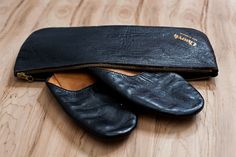 Early Air Travel Vintage Leather Slippers with by BarryVintage Leather Case, Leather Men, Soft Leather, Black Slippers, Leather Slippers, Bedroom Slippers, Luxury Shoes, Vintage Leather, Men's Shoes