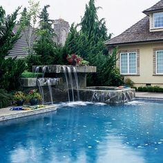 ✥ Direct an arching stream of water into the pool from a raised area on a deck or pool wall.