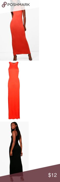 Boohoo Maxi Dress Orange Size 8 NWT, orange color available only! Boohoo Dresses Maxi