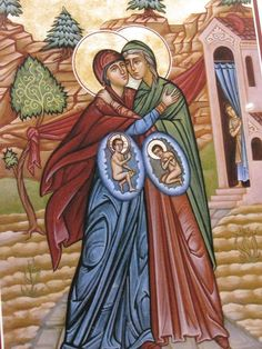 ( how wonderful to show the unborn. ) Meeting of Elizabeth and the Theotokos - I LOVE this icon with Christ and John the Baptist in utero! Religious Images, Religious Icons, Religious Art, Byzantine Icons, Byzantine Art, Blessed Mother Mary, Blessed Virgin Mary, Russian Icons, Sainte Marie