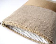 Handytasche Reissverschluss beige bronze Satinband von hand.fest auf DaWanda.com