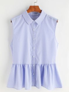 Shop Striped Bow Tie Split Back Sleeveless Peplum Shirt at ROMWE, discover more fashion styles online. Plaid Outfits, Classy Outfits, Casual Outfits, Cute Outfits, Top Chic, Short Frocks, Best Fashion Designers, Peplum Shirts, Girl Fashion