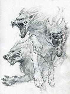 """Képtalálat a következőre: """"kerberosz tattoo"""" Animal Sketches, Animal Drawings, Art Sketches, Art Drawings, Wolf Drawings, Drawing Faces, Realistic Drawings, Pencil Drawings, Mythical Creatures"""