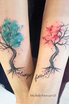 Watercolor Couple Tattoo With Trees ★ Small, unique, simpe, matching and meaningful love couple tattoos for soul mates. tattoos soul mates 29 Incredible And Bonding Couple Tattoos To Show Your Passion And Eternal Devotion Form Tattoo, Element Tattoo, Shape Tattoo, Soul Mate Tattoo, Neck Tatto, Tattoo Hals, Tattoo Soeur, Unique Tattoos, Cool Tattoos
