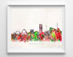 Brasilia Skyline Print Brazil Print Brasilia by InkistPrints