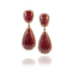 The rose gold in these custom ruby slice and diamond earrings is what I think sets this design apart. The ruby slices are surrounded by pavé diamonds. Shop at: http://www.studio1098customjewellery.com/collections/earrings/one-of-a-kind-custom-ruby-slice-and-pave-diamond-earrings  #custom #ruby #pave #diamond #earrings #handmade #madeinCanada #jewelry #jewellery #fallfashion