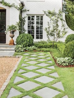 How Landscaping Added Instant Charm to this New Birmingham Home - Internationally Inspired Birmingham, Small Gardens, Outdoor Gardens, Zoysia Grass, Paver Designs, Square Foot Gardening, Garden Landscape Design, Desert Landscape, Outdoor Landscaping