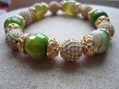 Green Grace Stretch Bracelet - Agate and Gold Pave Stretch Bracelet on Etsy, $34.00