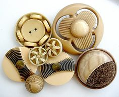 Perfect grouping of Cream and Brown Vintage Celluloid Buttons.
