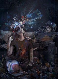 CYBER suicide by KonstantinBratishko on DeviantArt Ville Cyberpunk, Cyberpunk Kunst, Sci Fi Kunst, Arte Sci Fi, Sci Fi Art, Steampunk, Fantasy Kunst, Fantasy Art, Science Fiction