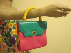vintage 80s bright colorblock turnlock mini bag by ultrafinepointvtg