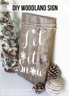 25 Winter Decor Crafts. DIY Woodland Sign. Let it Snow.